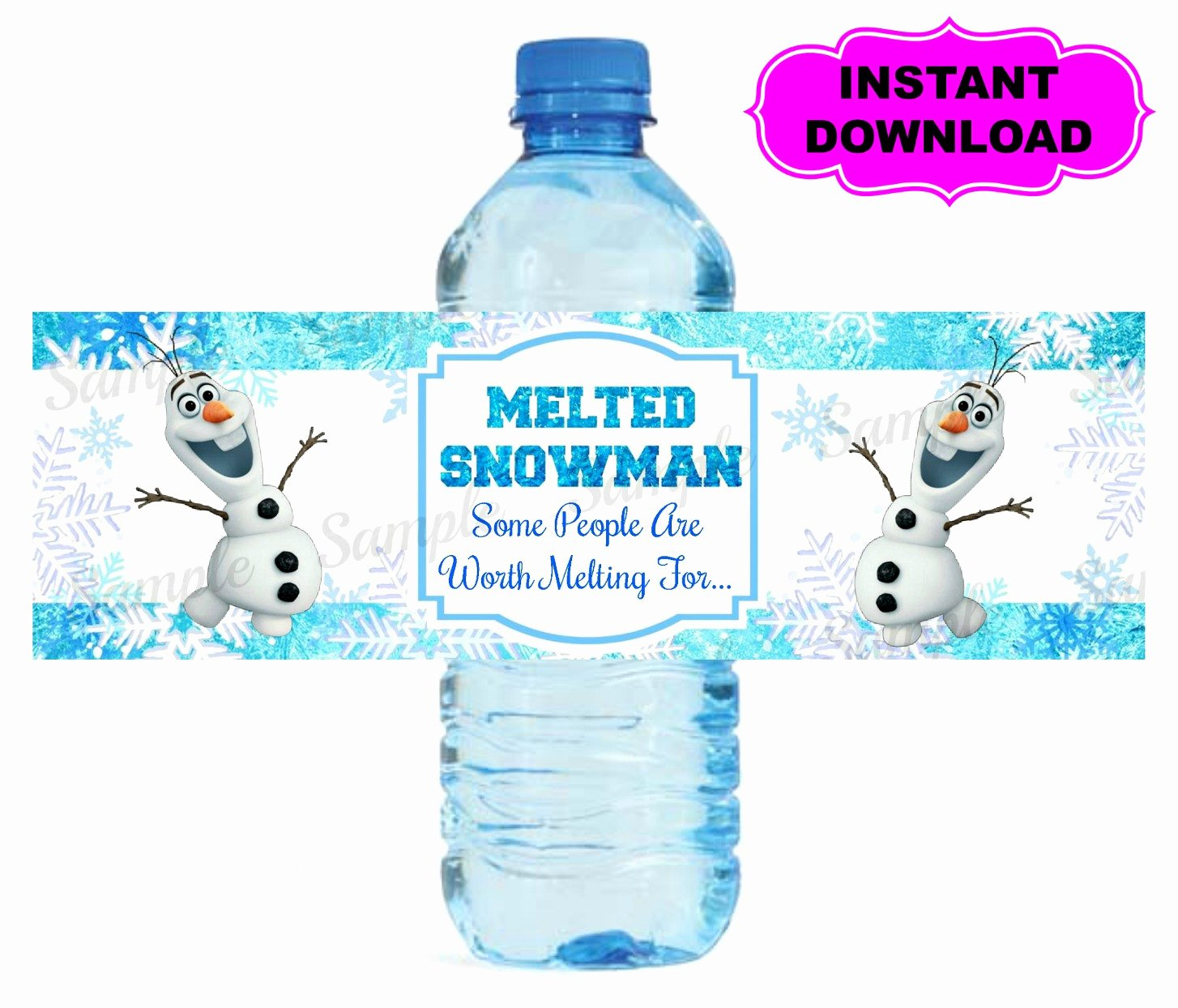Free Downloadable Water Bottle Labels Elegant Frozen Water Bottle Label Printable Digital by Kidspartypixel