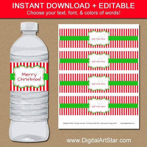 Free Downloadable Water Bottle Labels Fresh Christmas Water Bottle Labels Editable Printable by