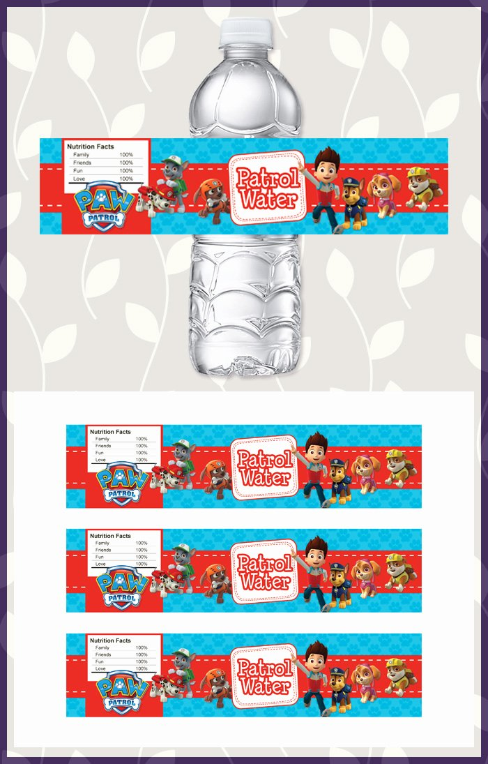 Free Downloadable Water Bottle Labels New Free Printable Paw Patrol Water Bottle Labels