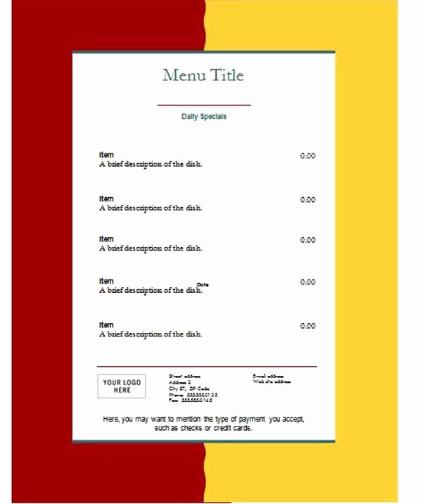 Free Downloadable Word Templates Beautiful Free Menu Templates