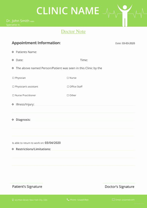 Free Dr Excuse Template Elegant 28 Doctors Note Templates Pdf Doc