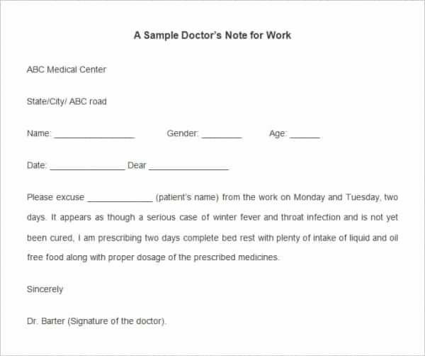 Free Dr Excuse Template Unique 35 Doctors Note Templates Word Pdf Apple Pages