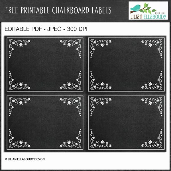 Free Editable Printable Labels Awesome Free Printable and Editable Chalkboard Labels by Lilian