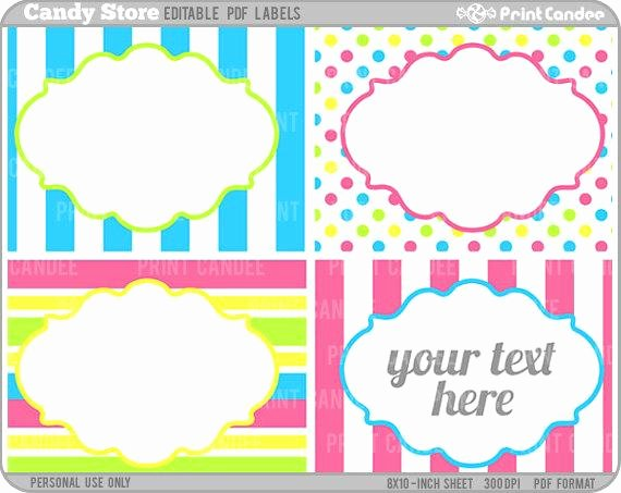 Free Editable Printable Labels Awesome Rectangle Editable Pdf 8x10 Candy Store Labels