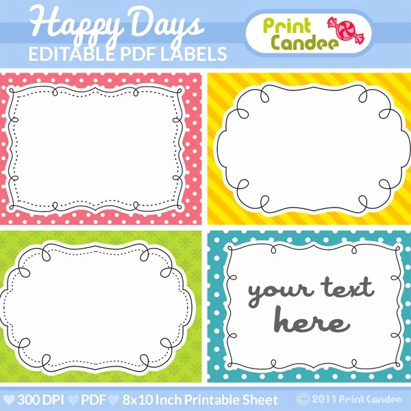 Free Editable Printable Labels Inspirational Rectangle Editable Pdf 8x10 Happy Days Labels No 222