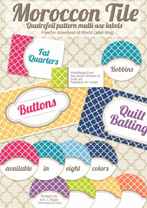 Free Editable Printable Labels Unique Free Editable Quatrefoil Labels Graphics & Fonts
