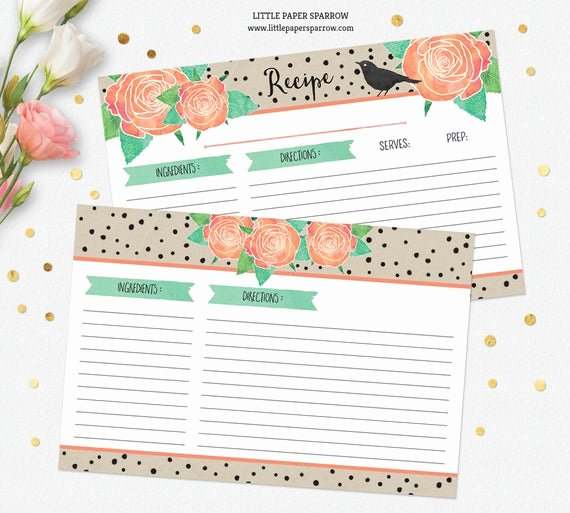 Free Editable Recipe Card Templates Fresh Printable Recipe Card Template Dividers Watercolor Roses