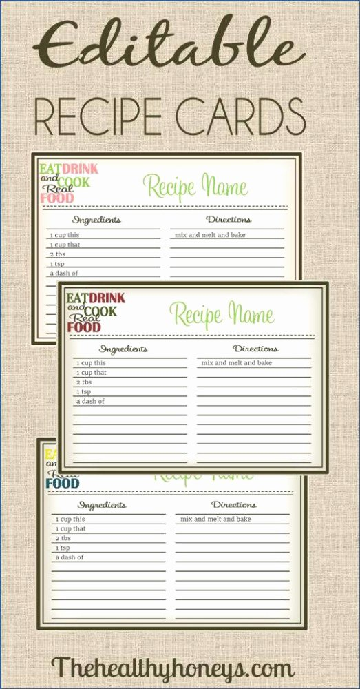 Free Editable Recipe Card Templates Fresh Real Food Recipe Cards Diy Editable the Healthy Honeys