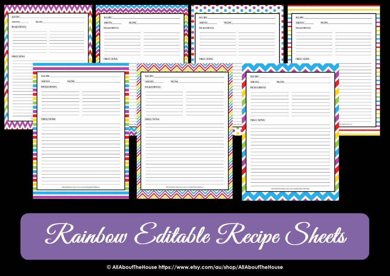 Free Editable Recipe Card Templates Luxury Editable Printable Chevron Recipe Template Recipe Card