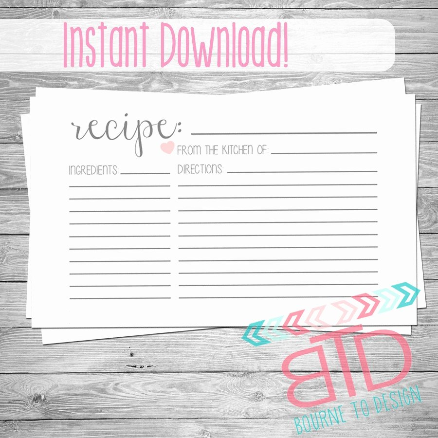 Free Editable Recipe Card Templates Luxury Recipe Card Printable Recipe Card Instant Download Kitchen