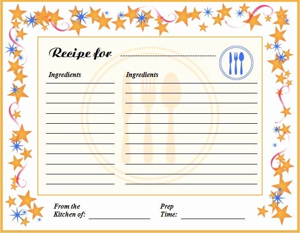 Free Editable Recipe Card Templates New Free Editable Recipe Card Templates for Microsoft Word