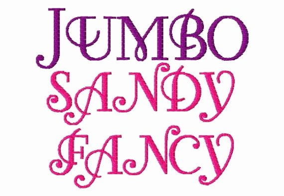 Free Embroidery Fonts Downloads Awesome Jumbo Sandy Fancy Machine Embroidery Font Sizes by