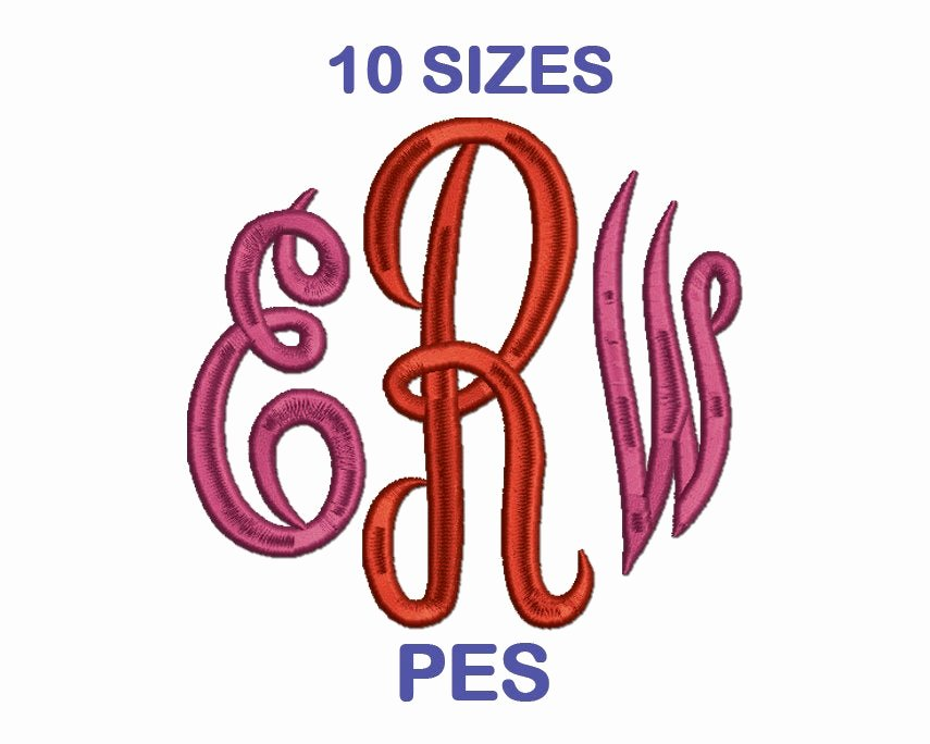 Free Embroidery Fonts Pes Awesome Empire Monogram Embroidery Font Set 10 Sizes Pes format