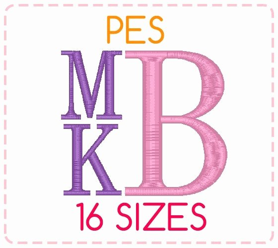 Free Embroidery Fonts Pes Elegant 16 Sizes Pes format Stacked Monogram Font by