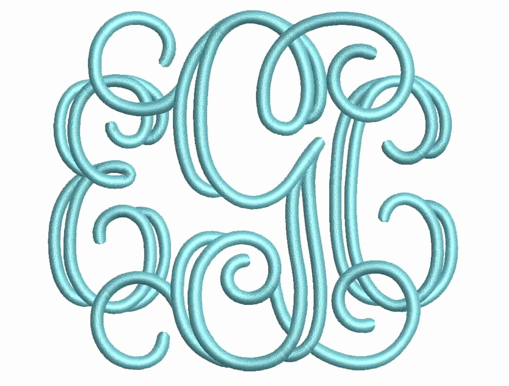 Free Embroidery Monogram Fonts New Open Vine 3 Letter Monogram Font Machine Embroidery