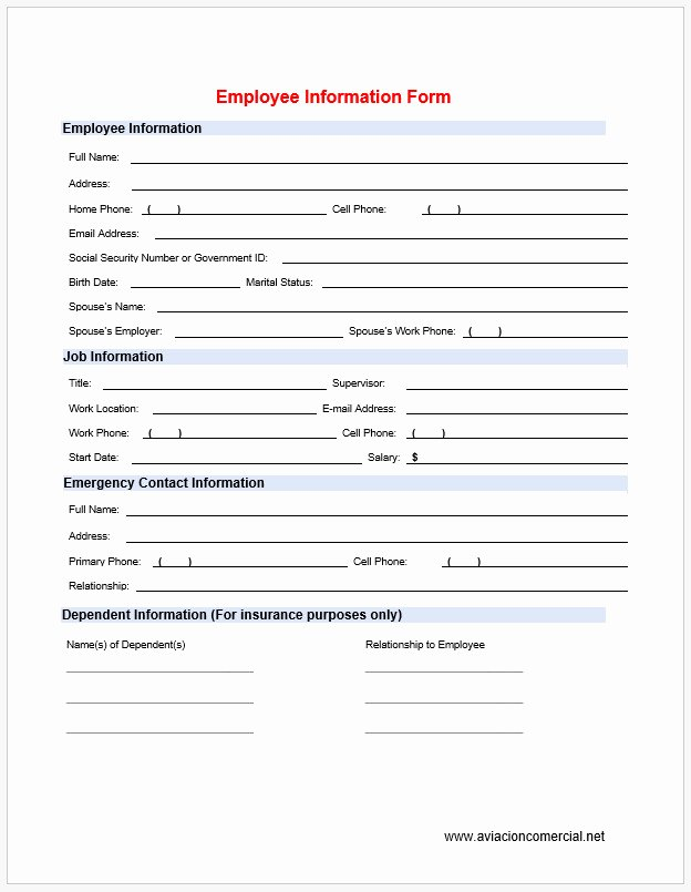 Free Employee Information Sheet Template Beautiful Free Printable Blank Employee Information form Template 2468