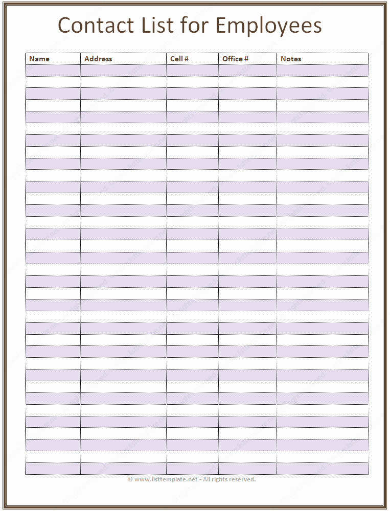 Free Employee Information Sheet Template Fresh Employee Contact List Template In A Basic format