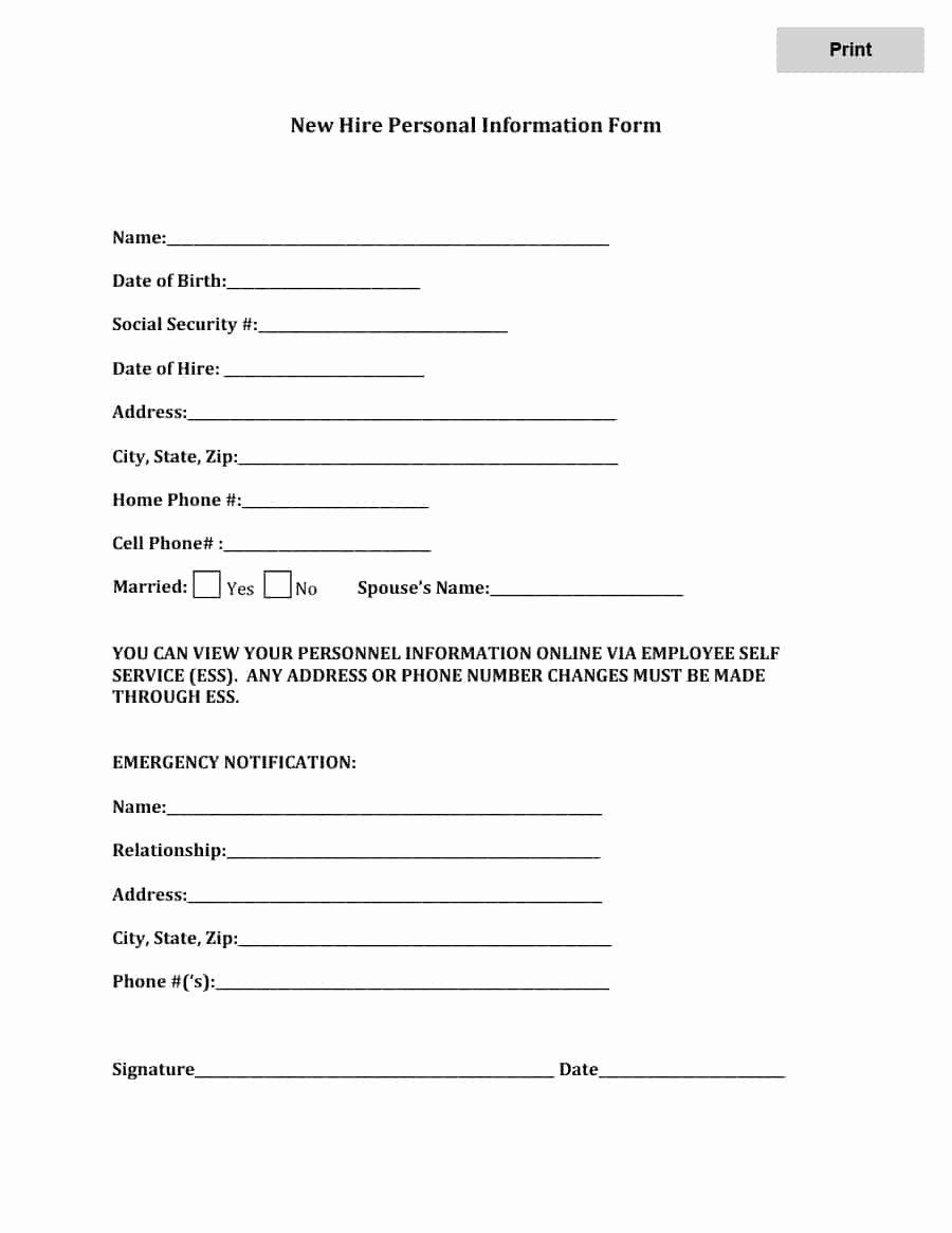Free Employee Information Sheet Template Inspirational 47 Printable Employee Information forms Personnel