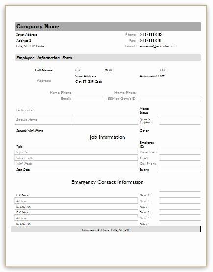 Free Employee Information Sheet Template Inspirational Employee Information forms