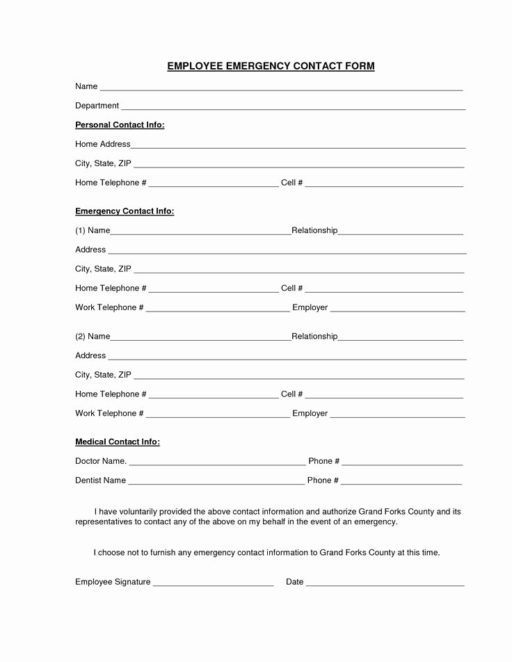Free Employee Information Sheet Template Lovely Download A Free Emergency Contact form and Emergency Card