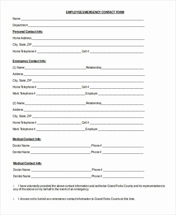 Free Employee Information Sheet Template Unique Emergency Contact Sheet
