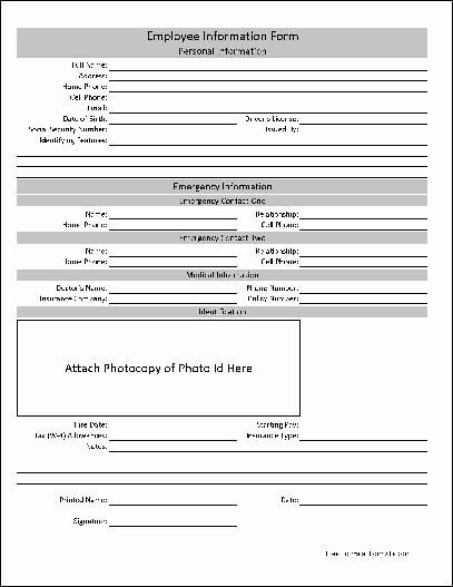 Free Employee Information Sheet Template Unique Free Basic Employee Information form Hr