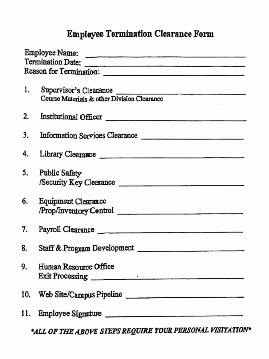 Free Employment Termination forms Awesome 5 Employment Clearance form Samples Free Sample Example