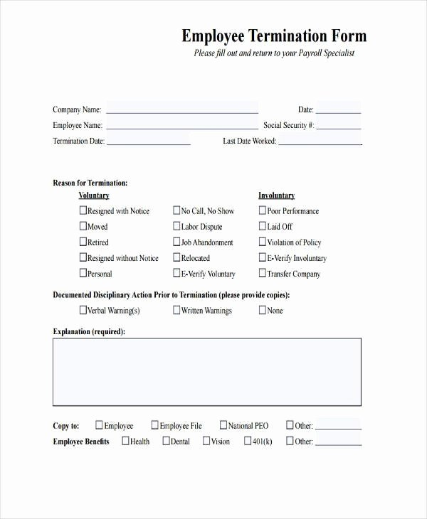 Free Employment Termination forms Awesome Employee Termination Paperwork