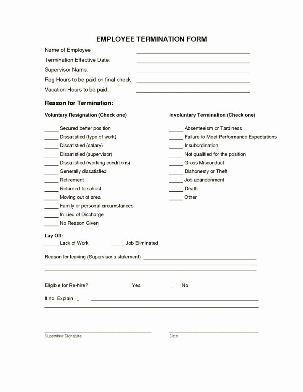 Free Employment Termination forms Fresh Employee Termination form Template Template Update234