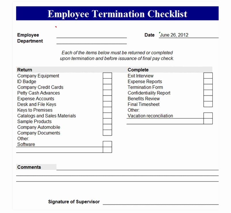 Free Employment Termination forms Luxury Employee Termination Checklist