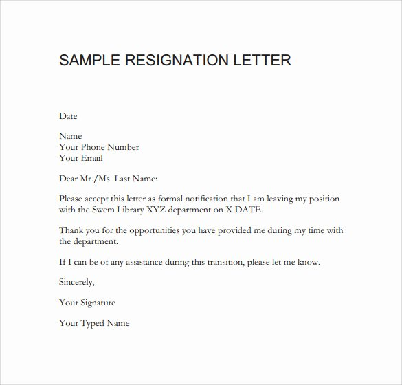 Free Example Of Resignation Letters Awesome Sample Resignation Letter format 14 Download Free