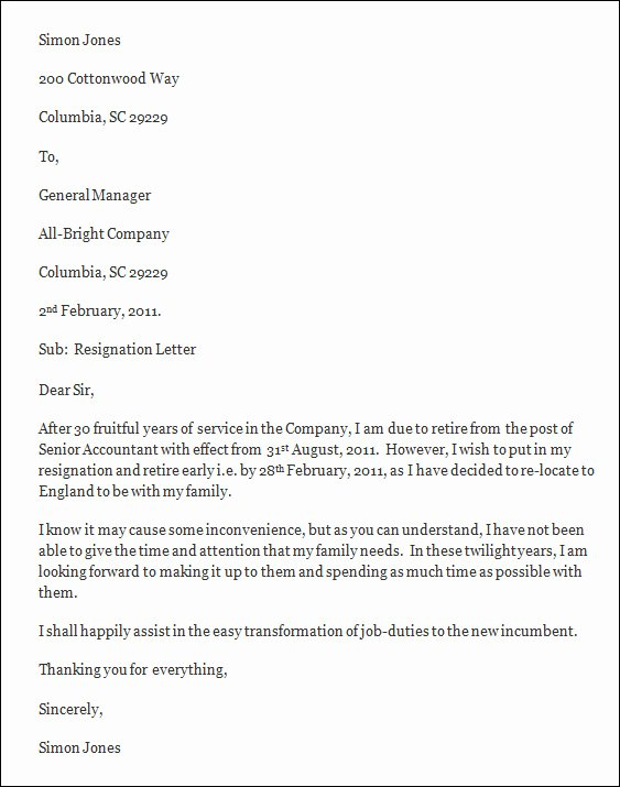 Free Example Of Resignation Letters New Resignation Letter Template Free Resignation Letter Template