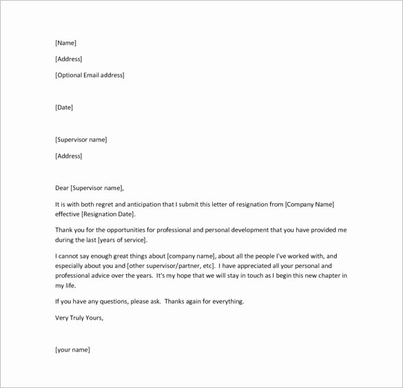 Free Example Of Resignation Letters Unique 26 Resignation Letter Templates Free Word Excel Pdf