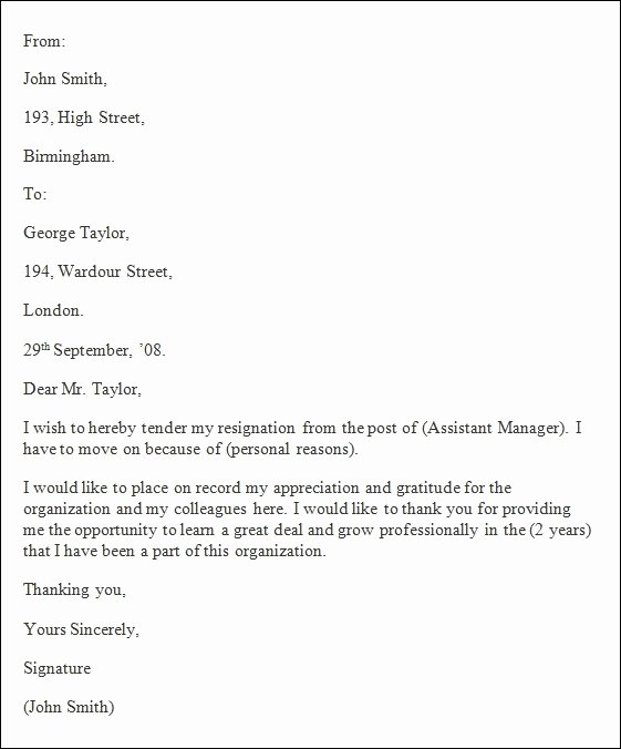 Free Examples Of Resignation Letter Awesome formal Resignation Letter Template Word