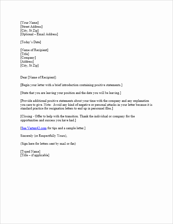 Free Examples Of Resignation Letter Beautiful Free Letter Of Resignation Template