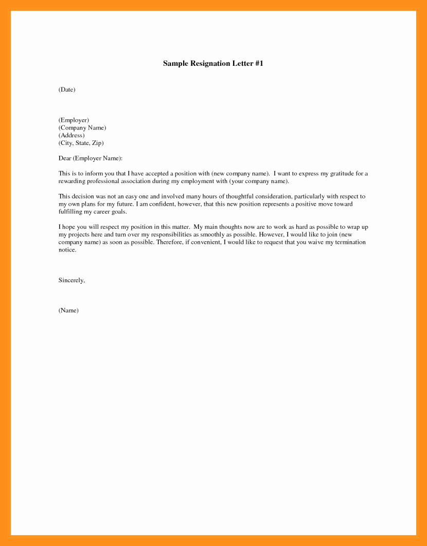 Free Examples Of Resignation Letter Best Of 10 11 Resignation Letter Samples Free