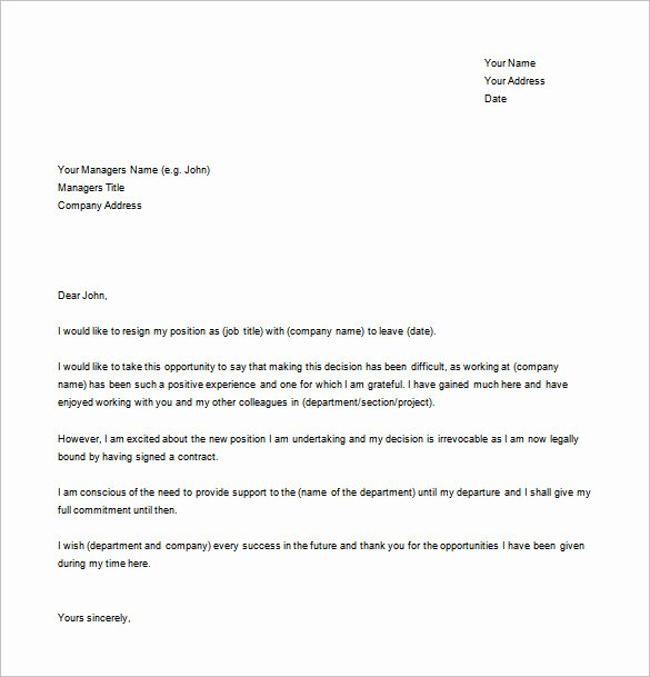 Free Examples Of Resignation Letter Best Of 9 Resignation Letter Templates Free Sample Example