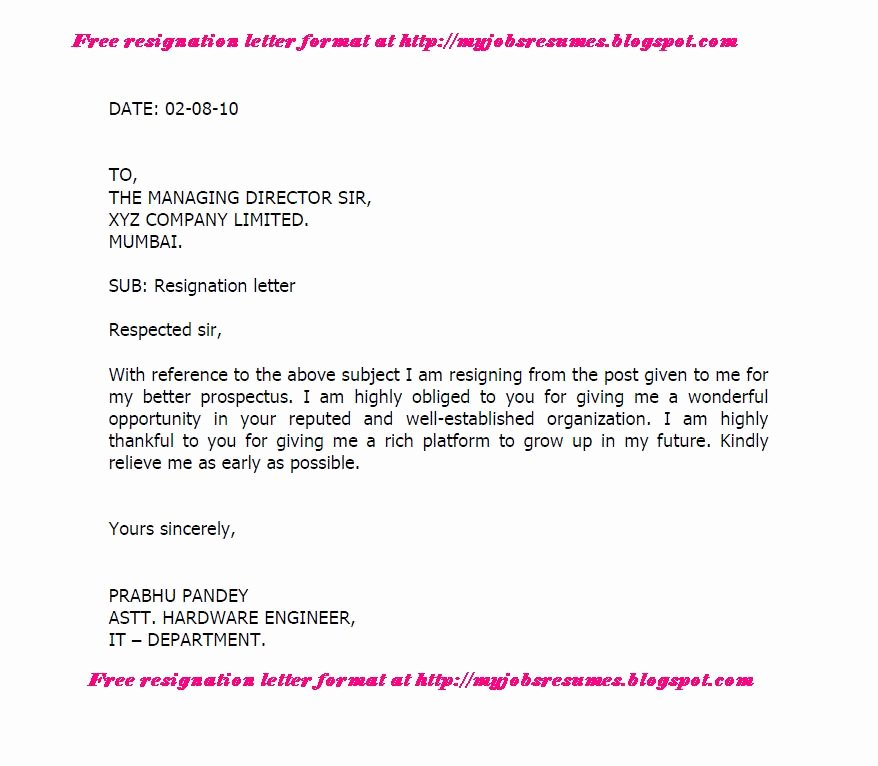 Free Examples Of Resignation Letter Best Of Fresh Jobs and Free Resume Samples for Jobs Resignation