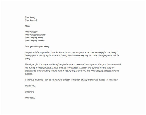 Free Examples Of Resignation Letter Lovely 16 formal Resignation Letter Templates Pdf Doc