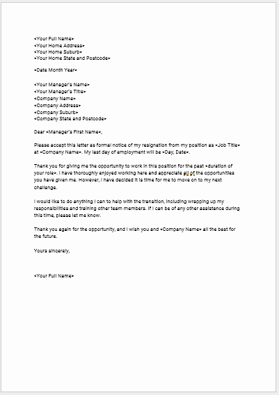 Free Examples Of Resignation Letter New Download Seek S Free Standard Resignation Letter Template