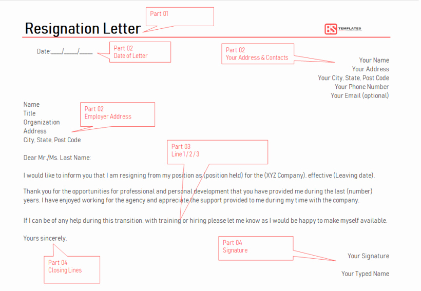 Free Examples Of Resignation Letter New Resignation Letter format – Free Professional Templates