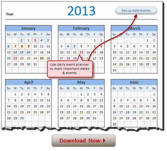 Free Excel Templates Downloads Beautiful Free 2013 Calendar Download and Print Year 2013 Calendar