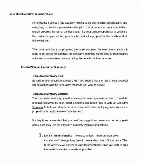 Free Executive Summary Template Fresh 31 Executive Summary Templates Free Sample Example