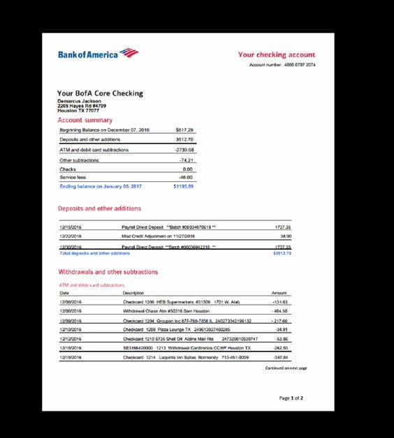 Free Fake Bank Statement Best Of Bank Statement Bank America Template In E Earnings