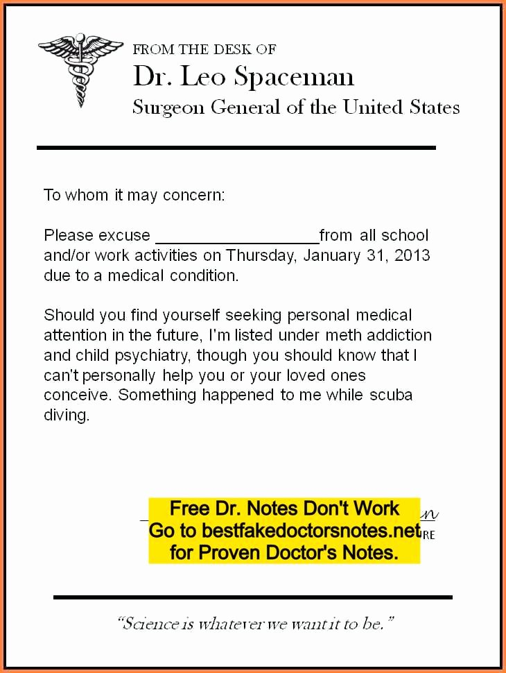 Free Fake Doctors Notes New Fake Doctors Note Excuse Templates for Work & School Pdf