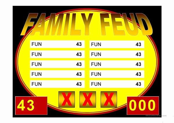 Free Family Feud Templates Lovely Family Feud Game Power Point Template Worksheet Free Esl
