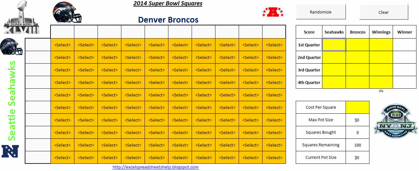 Free Football Pool Template Beautiful 2014 Super Bowl Squares Spreadsheet