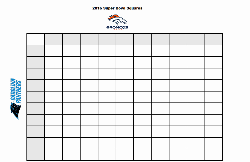 Free Football Pool Template Best Of Free Printable 2016 Superbowl Betting Squares Stylish