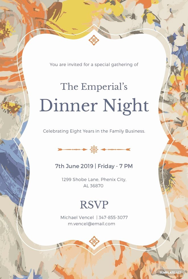 Free formal Invitation Template Beautiful Free formal Dinner Invitation Template