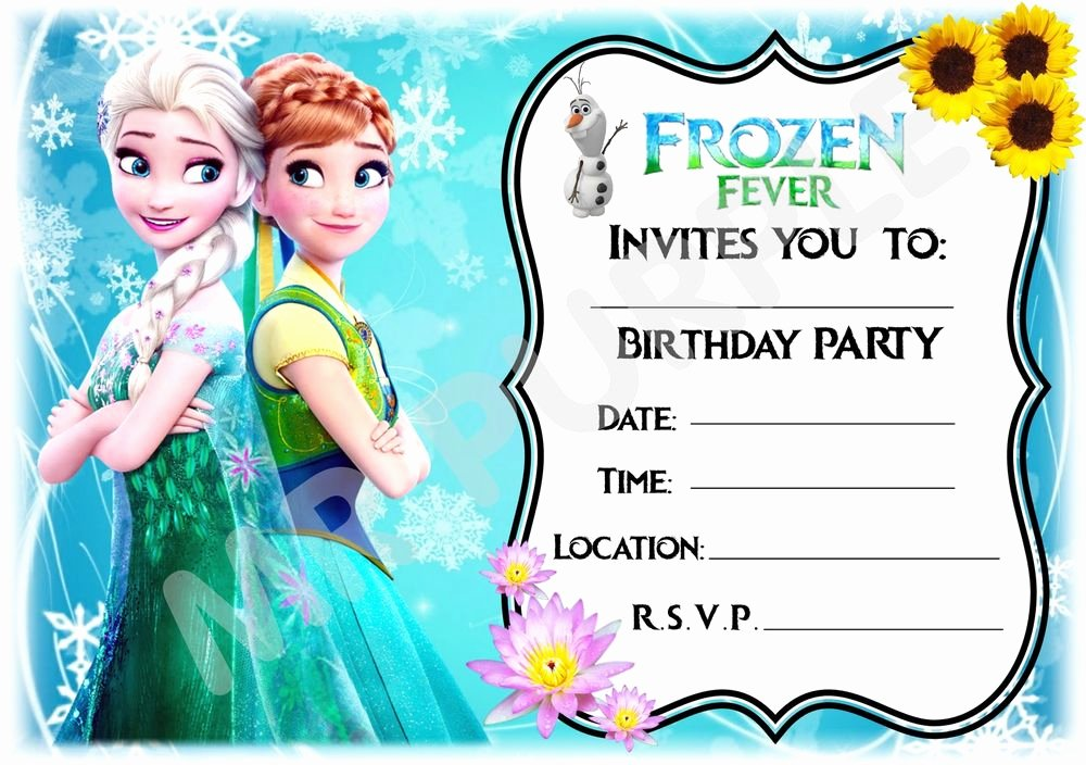 Free Frozen Invitations Template Inspirational A5 Disney Frozen Fever Childrens Party Invitations X12